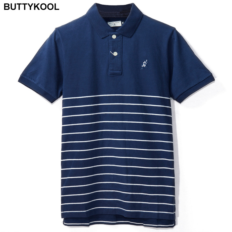 BUTTYKOOL Brand 2017 Men's POLO Shirt Men Casual Striped Polos Shirts Business Man Polo Soft Cotton Short-sleeve High Quality