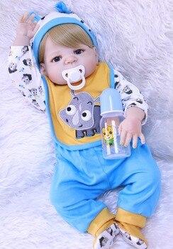 "Reborn boy dolls 23""57cm bebes reborn menino boneca full silicone vinyl reborn baby dolls for kids birthday gift"
