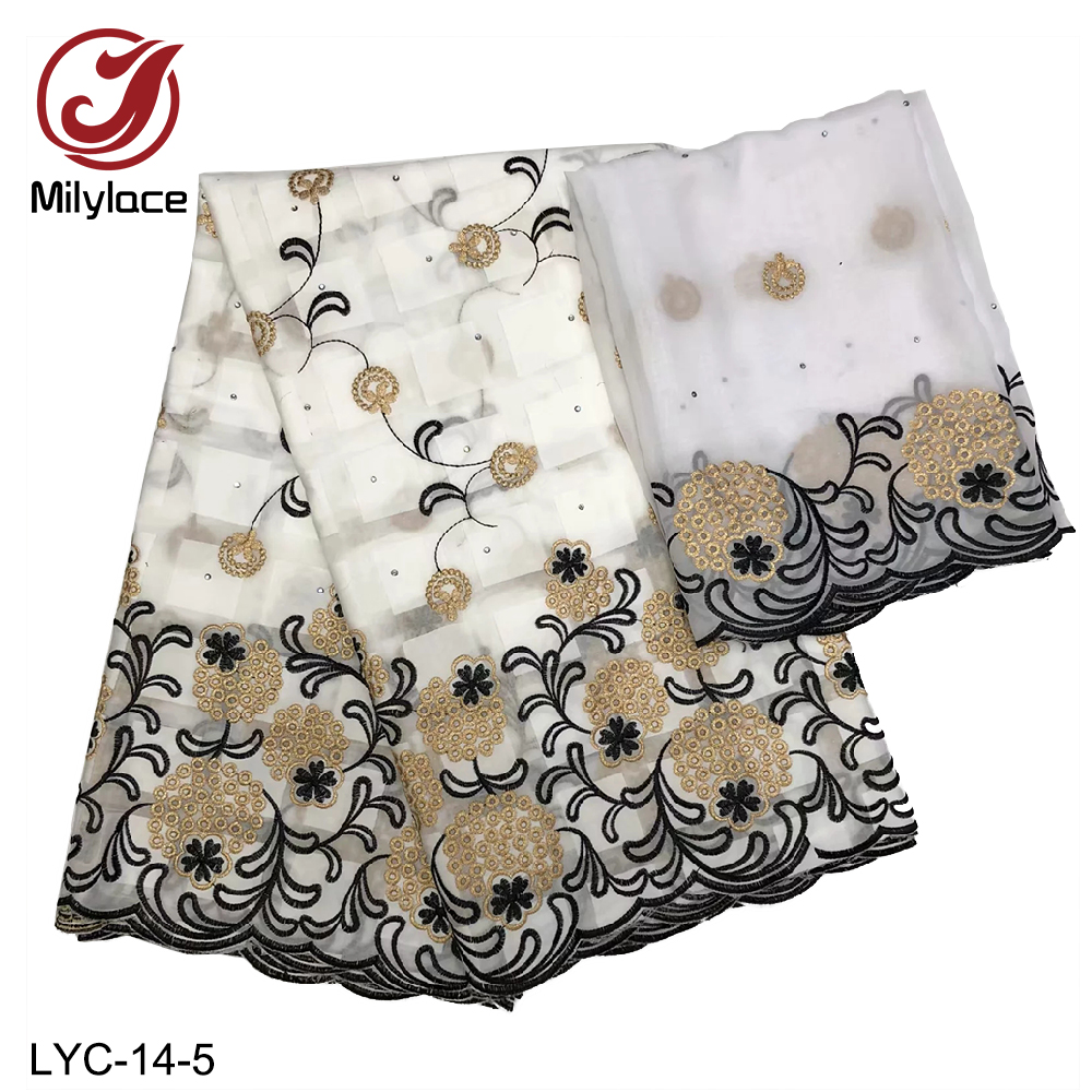 Millylace 2019 cotton voile lace fabric yards African swiss cotton fabric with embrodiery and stones 7 yards for clothing LYC-14