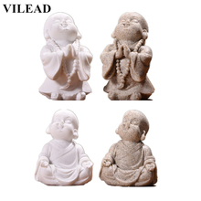 VILEAD Cute Little Monk Figurines Sandstone Adorable Buddha Statuettes Lovely Miniatures for Office Home Decor Creative Gift