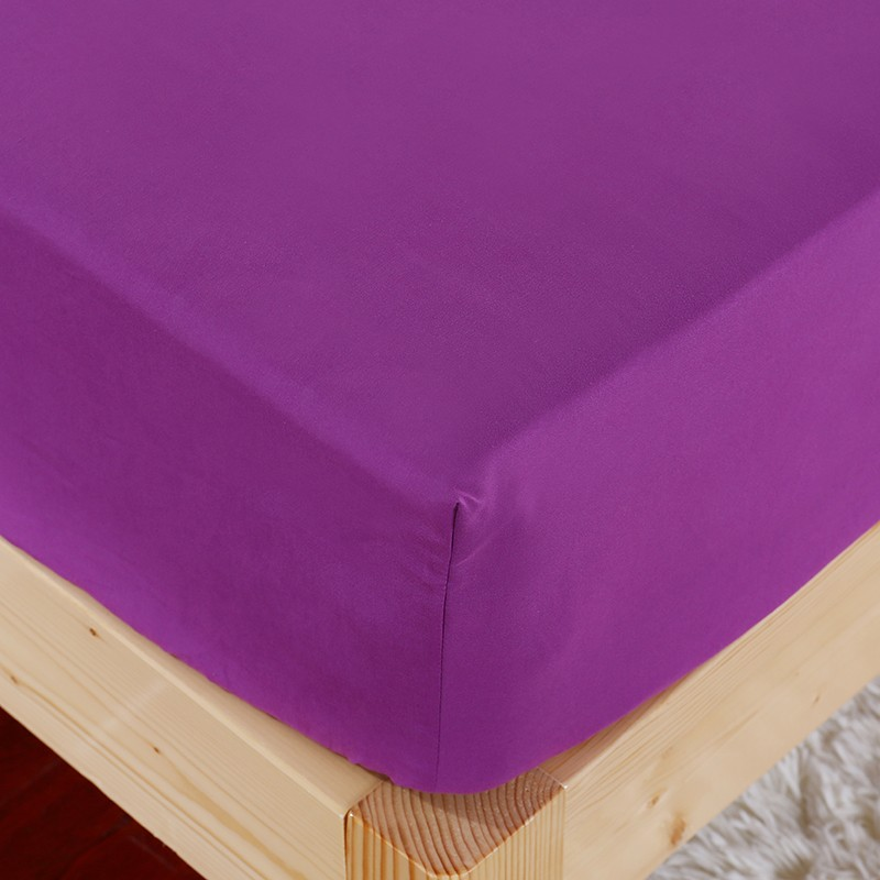 1pcs 100%Polyester Solid Fitted Sheet Mattress Cover Four Corners With Elastic Band Bed Sheet 7