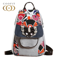 Coofit Retro Women S Canvas Backpack Chinese Style Peking Opera Designer Linen Bagpack National Fashion Backpacks