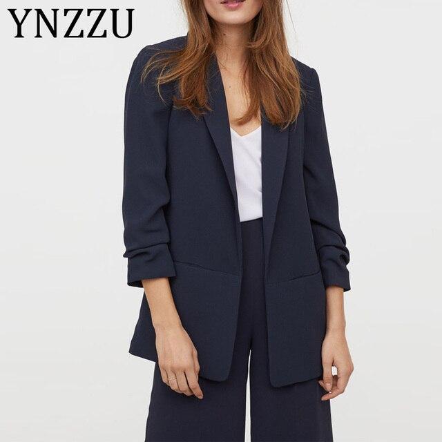 Barato YNZZU sólido elegante chaqueta de las mujeres se ...