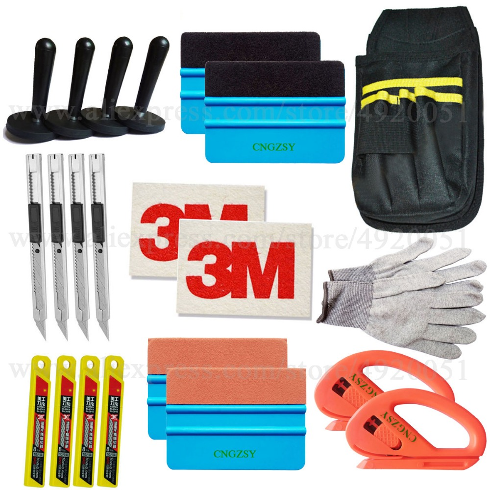 Vinyle Film voiture Wrap raclette magnétique supports laine grattoir sécurité Cutter couteau lames outils sac Automobile fenêtre teinte outils K27