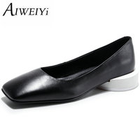 AIWEIYi New Fashion Genuine Leather Women Low Heels Pumps Shoes 34 44 Square Toe Office Lady