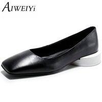 AIWEIYi Yeni Moda Hakiki Deri Kadın Düşük Topuklu Ayakkabı Pompaları 34-44 Kare Ayak Ofis Bayan Seksi Ayakkabı Kadın rahat Ayakkabılar