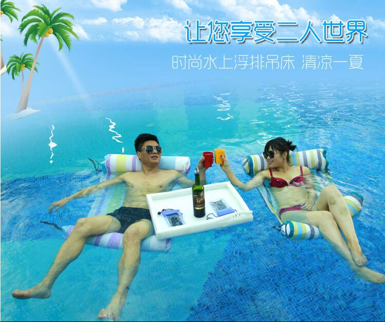 ФОТО Inflatable water lounger hammock  swimming equipment inflatable floating bed row
