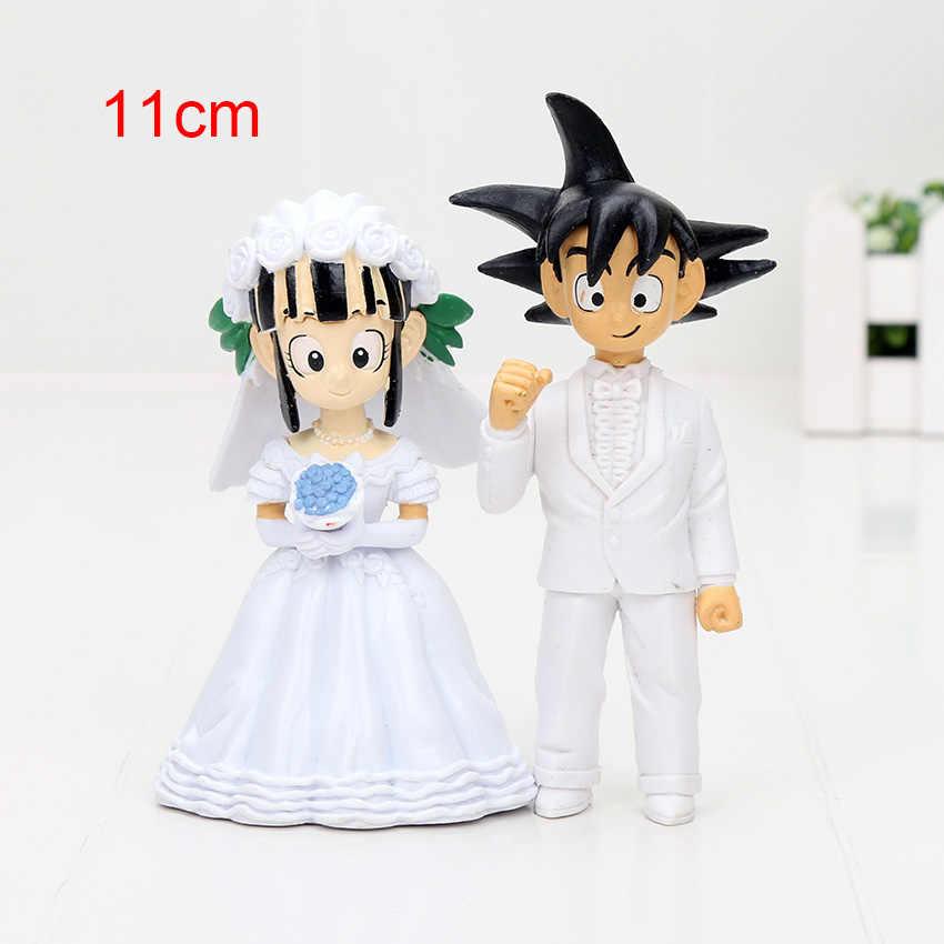 7.5 cm 11 cm Dragon Ball Z Figura New Japan Anime Dragon Ball Goku ChiChi Casamento PVC Brinquedos Figura