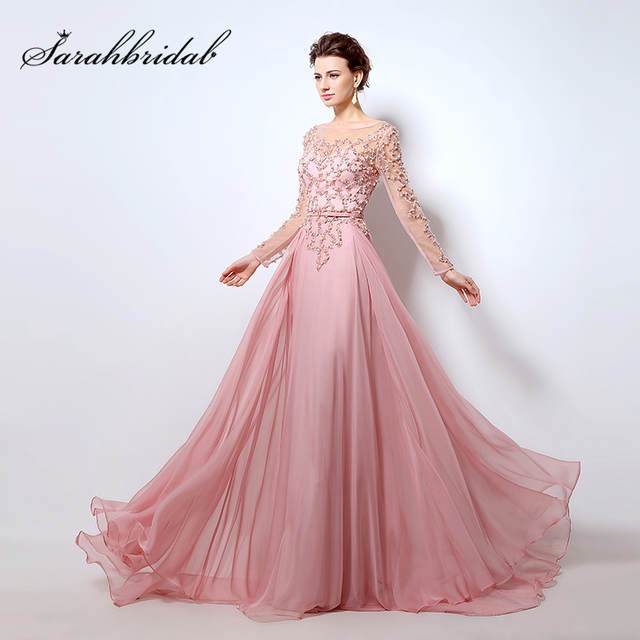 d1d0495d53b placeholder 100% Real Beading Long Sleeves Evening Dresses Pink Chiffon  Abendkleider Illusion Neckline Party Elegant Women