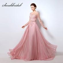 Fotos reais mangas compridas vestidos de noite chiffon rosa abendkleider ilusão decote festa elegante feminino forml baile vestido ol051
