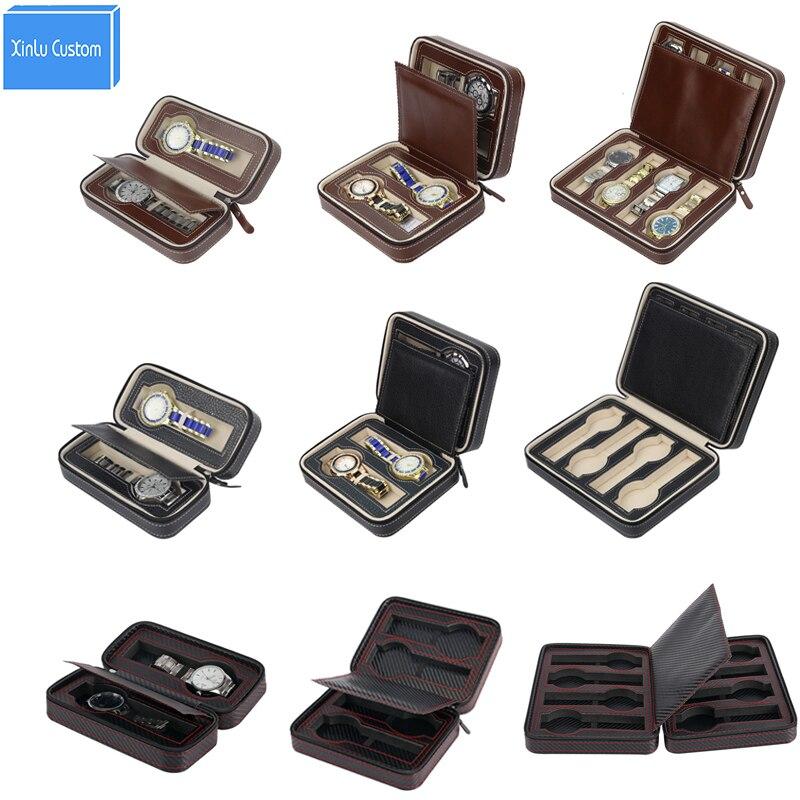 2/4/8 Grids Brown/Black/Black Carbon Sew Pu Leather Sport Protect Watches Box Case Travel Port Watch Display Storage Organizer