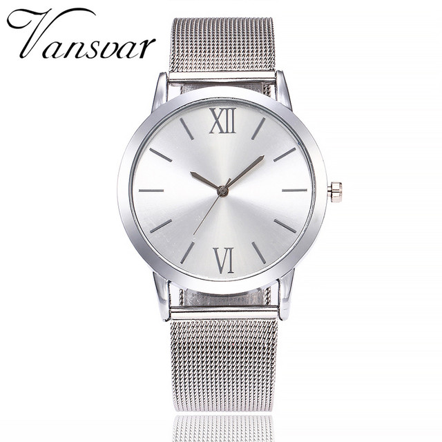 Vansvar Brand Women Watches Casual Quartz Stainless Steel Band Newv Strap Watch Analog Wrist Watch erkek kol saati