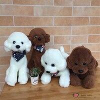 Free shipping Life like Teddy Poodle Dogs Bichon Frise Plush Toy UK Triangular Scarf 2 styles stuffed warm soft animal kids gift