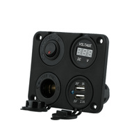 US CLEARANCE Panel Base Dual USB Socket Voltmeter Meter Power Socket ON OFF Button Switch For