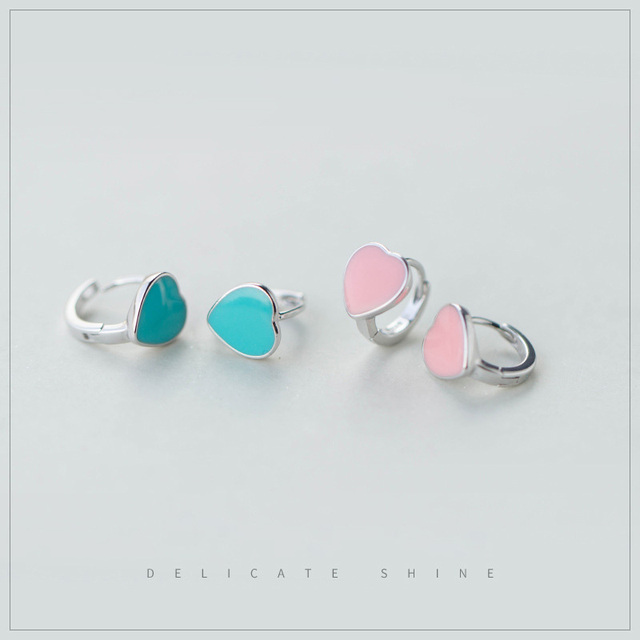 NEW 2017 Heart-shaped Opal Silver Earring Stup Earrings Retail Sterling Silver Jewelry Free Shipping