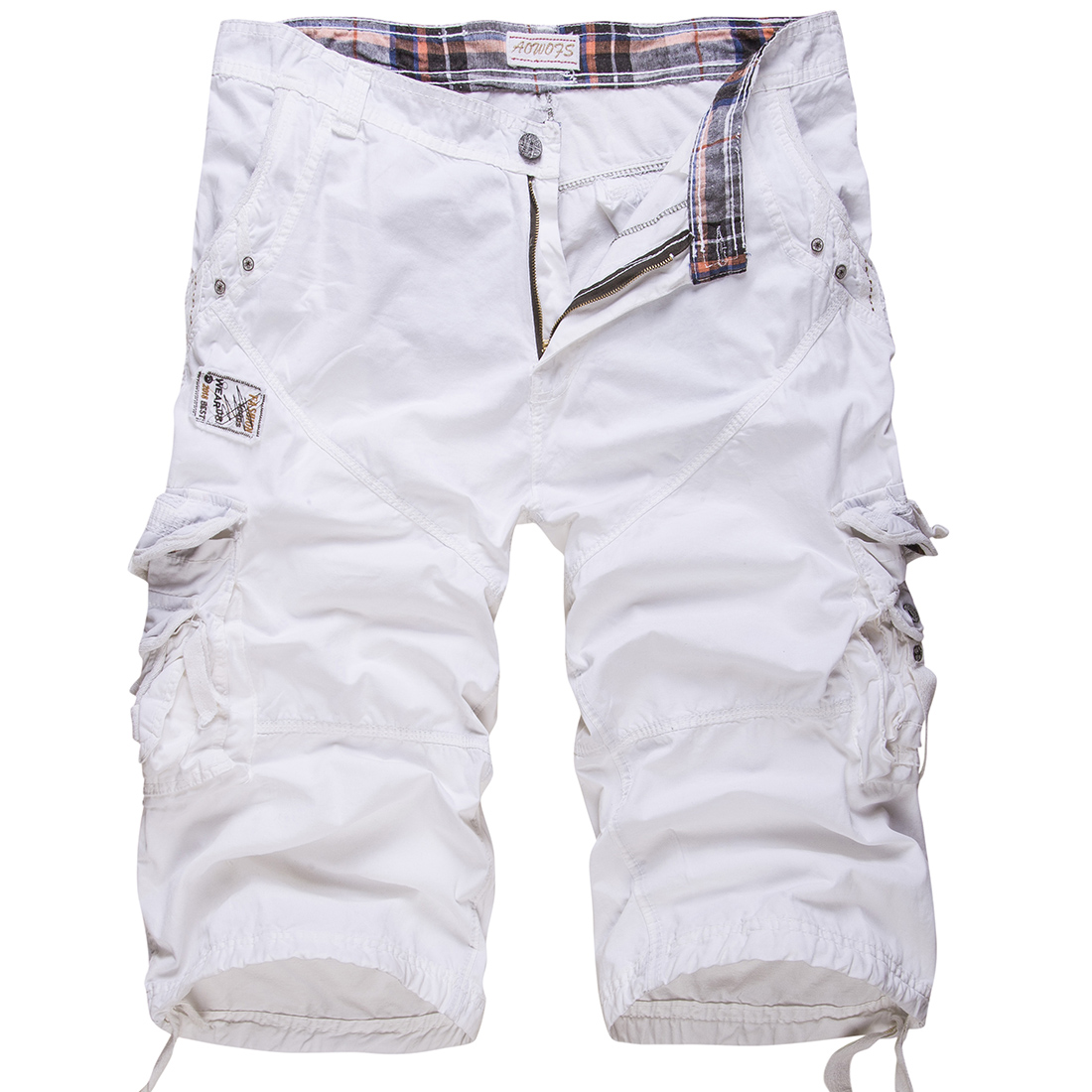 New cotton men's casual shorts loose large size cargo shorts solid color patchwork military shorts white knee length Tactical