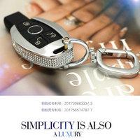 Diamond Zinc Alloy Leather Car Key Bag Case Cover Key Holder For Mercedes Benz W203 W210