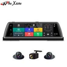 WHEXUNE 2019 Новый 10 «FHD 1080 P 4G 4-канальный ADAS видеокамера на ОС андроид для автомобиля Dashcam центр трюмо gps WiFi задний объектив видео рекордер