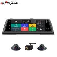 WHEXUNE 2019 New 10 FHD 1080P 4G 4 Channel ADAS Android Car DVR Dashcam Center console mirror GPS WiFi Rear Lens Video Recorder