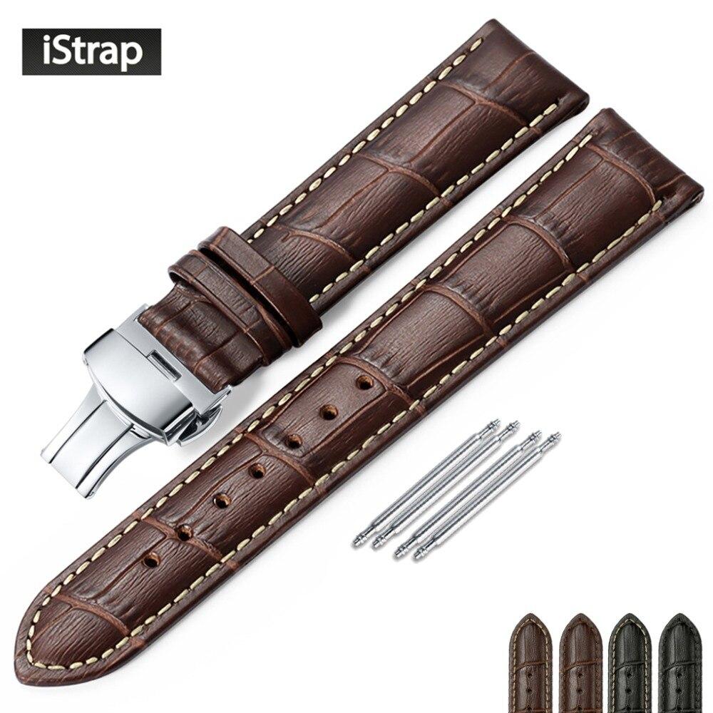 Isap pulseira de couro genuíno borboleta fivela bandas croco grão pulseira relógio tamanho em 12 13 14 16 17 18 19 20 21 22 24 mm