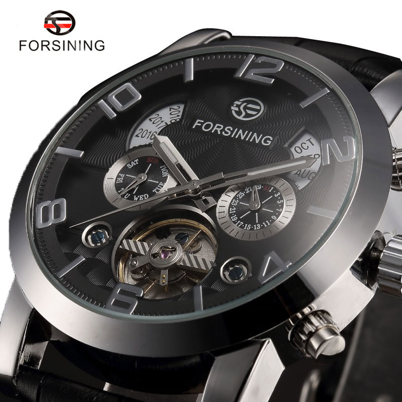 FORSINING Automatic Mechanical Watch Men Business Watches Male High Quality Clock Gift for Mens Black/White Genuine Leahter Band t winner automatic watch mens trendy mechanical auto windding silicone band wristwatches modern elegant analog hollow clock gift