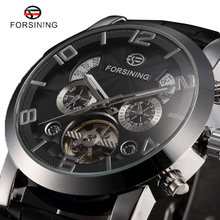 FORSINING Automatic Mechanical Watch Men Business Watches Male High Quality Clock Gift for Mens Black White