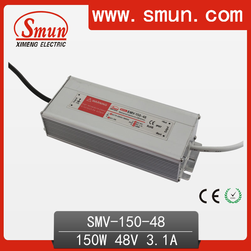 150W 48V 3A Waterproof IP67 LED Driver Switching Power Supply for Led Strip Light with CE ROHS 1 Year Warranty SMV-150-48 high quality waterproof led driver transformer ce rohs approval ac90 265v to dc20 36v 4500ma 150w led highbay light power supply