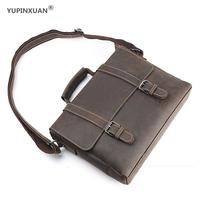 YUPINXUAN Europe Crazy Horse Leather Handbags For Men Vintage Genuine Leather Briefcases 10 Laptop Office Bags