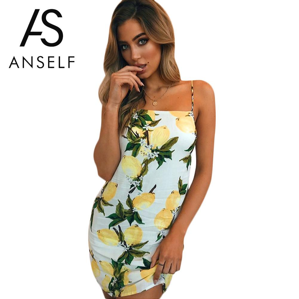 Anself Women Summer Floral Lemons Print Mini Dress Casual Slip Dress Spaghetti Strap Going Out Slim Fit Sleeveless Short Dress