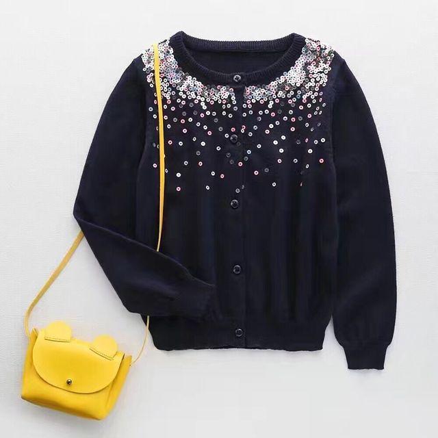 2017 das Crianças camisola Meninas Peito sete cor paillette cor pura malha da longo-luva Cardigan casaco Grosso