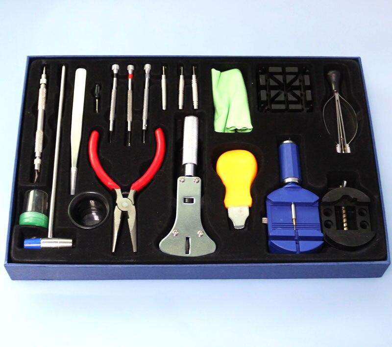 Haute qualité professionnel 20 pièces montre Kit d'outils de réparation ensemble avec sac lien broche dissolvant/ouvreur de boîtier/montre main dissolvant
