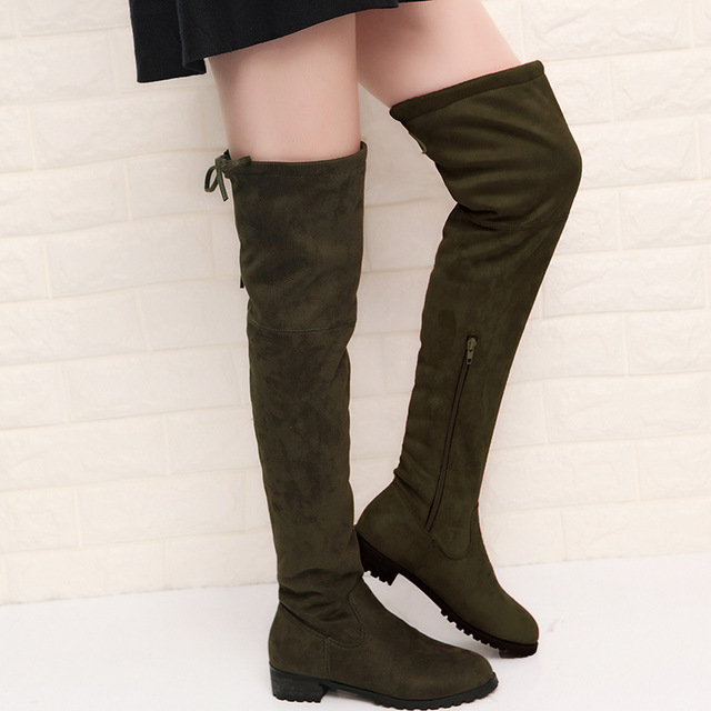 2017 Slim Boots Sexy Over The Knee High Suede Women Snow Boots Women's Fashion Winter Thigh High Boots Shoes Woman 2