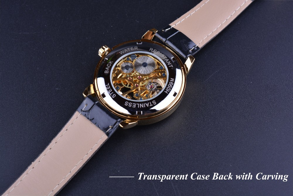 Forsining 3d Logo Design Hollow Engraving Black Gold Case Leather Skeleton Mechanical Watches Men Luxury Brand Heren Horloge 7