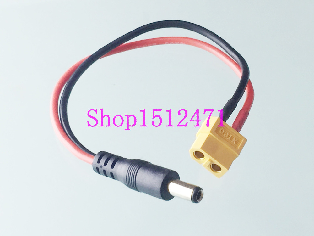 1pce XT60 Female To 5.5x2.1mm Male DC Power Adapter For Lipo Battery Charger