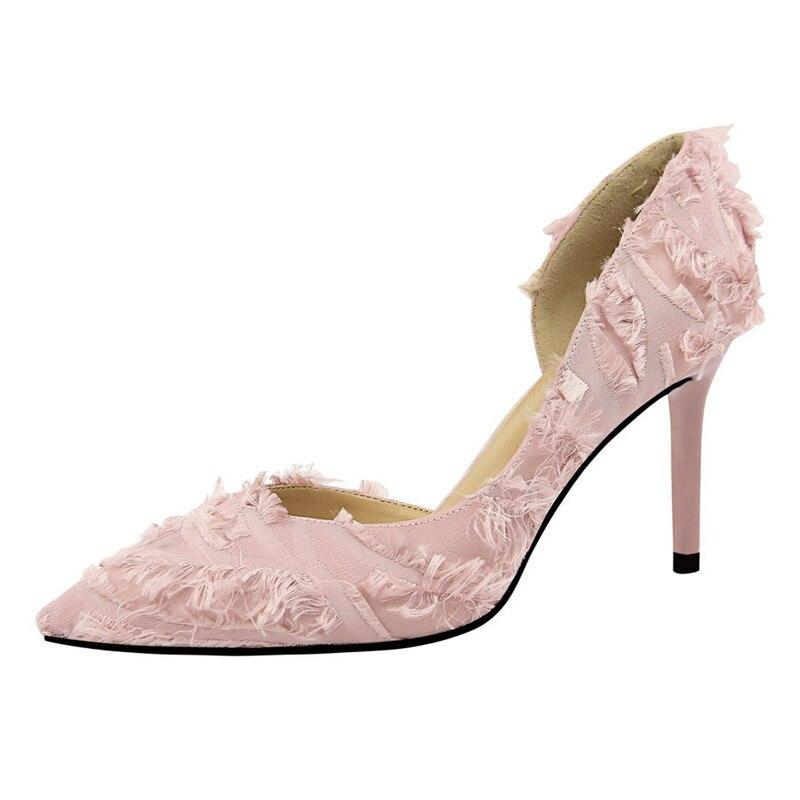 Dames Pour Bout Pompes Femmes Mode Plume Chaussures Femme 10 Élégant Hauts Robe Automne As Talons Adorable De Satin Picture Pointu as Sandales Stiletto Cm Picture qUHafOOcW