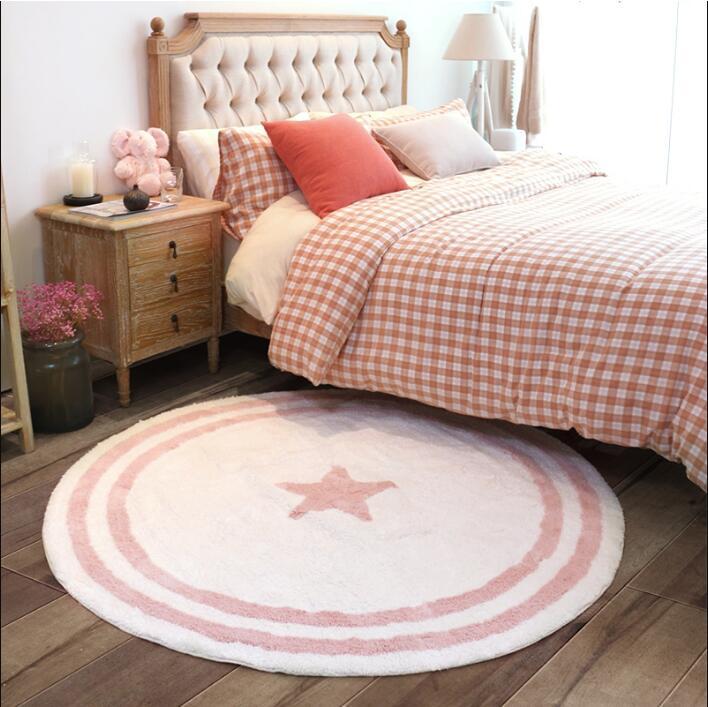 Simple circulaire velours tapis chambre enfant fille et garçon chambre chevet tapis lit avant tapis lavable rond tapis