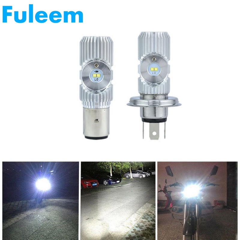 Fuleem Motorcycle <font><b>Headlights</b></font> H4 <font><b>HS1</b></font> BA20D 20W 1200LM 6000K 4 <font><b>LED</b></font> Scooter Hi/Lo Motorbike Moped <font><b>Headlight</b></font> Fog Lamp Bulbs 12v 24v image