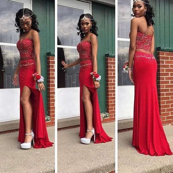 Two Piece Mermaid Red Prom Dresses 2016 Sweetheart Off the Shoulder Chiffon  Beading Backless Sweep Train 814121dca81c