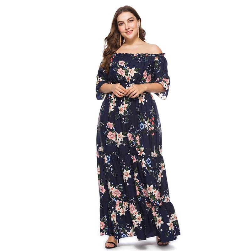 Maxdiroo Elegant Women Dress Chiffon Off Shoulder Print Flowers Dress Lady Long  Maxi Dress Plus Size 8af222fbf011