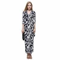 2015 Summer Women Maxi Wrap Dresses Ladies V Neck Three Quarter Sleeve Print Long Dress