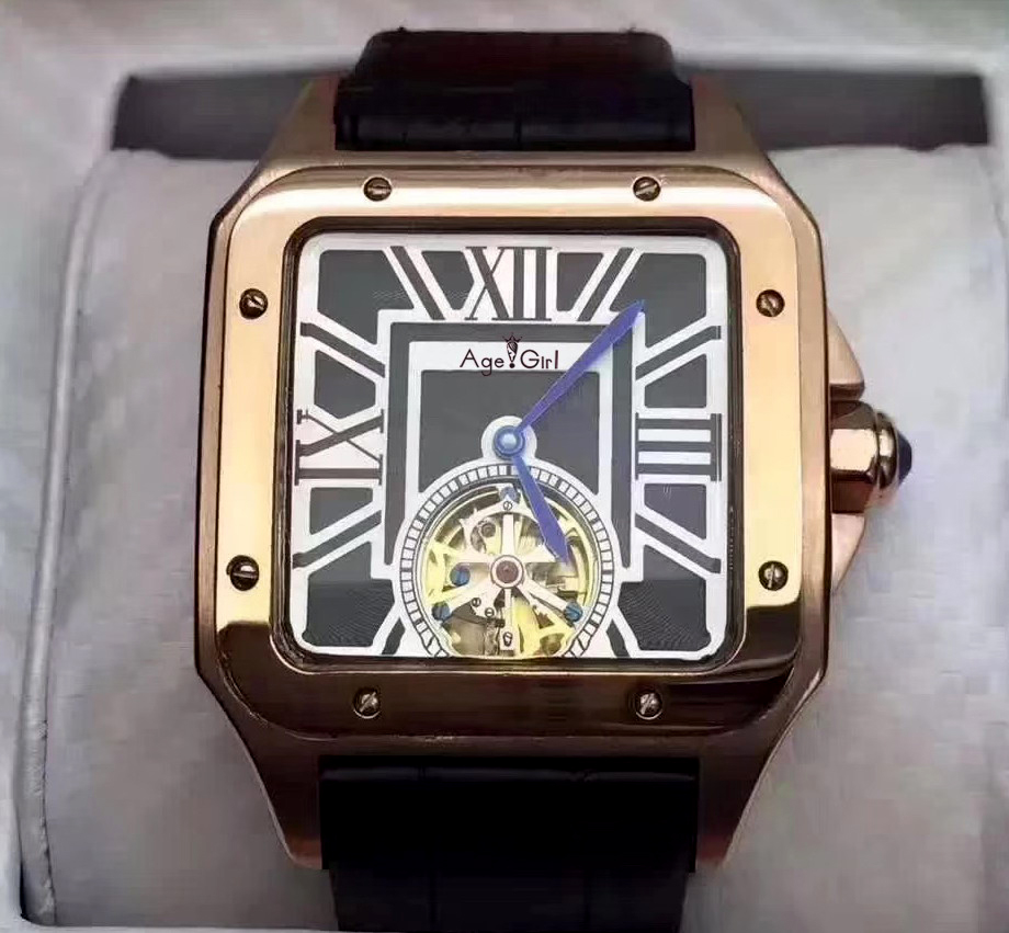 Luxury Brand New Men Automatic Mechanical Watch Silver Gold Black Blue Leather Tourbillon Sapphire Santos Limited Square Sport