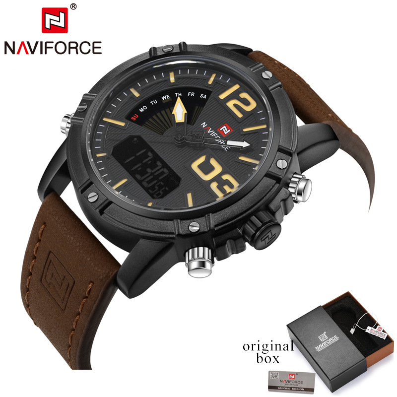 Top Luxury Brand NAVIFORCE Men Sport Watches Men's Quartz LED Analog Clock Man Military Waterproof Wrist Watch relogio masculino sinobi men s top luxury brand sport watches men led digital waterproof stainess steel quartz watch man clock relogio masculino