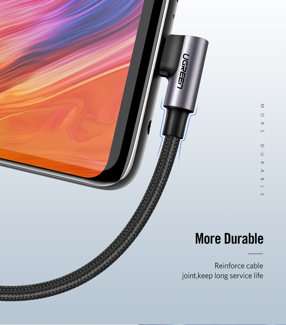 Ugreen USB C Cable for Samsung S9 S10 Plus Quick Charge 3.0 Right Angled USB Type C Fast Charger Data Cable for Game USB-C Wire