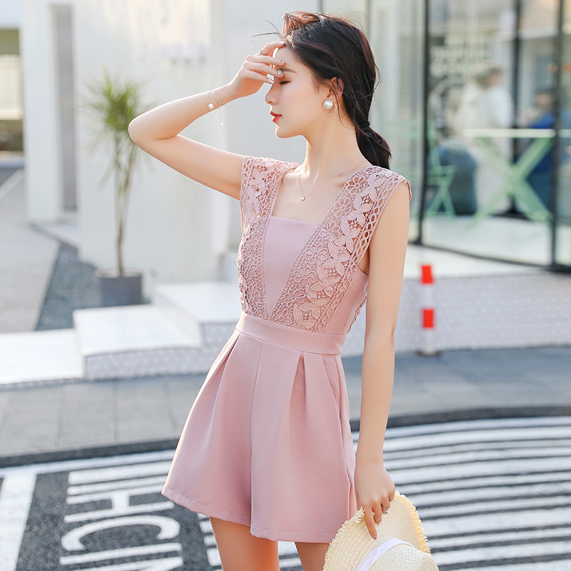 2018 Summer Casual Playsuit Sexy Sleeveless Short   Jumpsuit   Shorts Solid Overalls Romper Rompers Womens lace   Jumpsuit