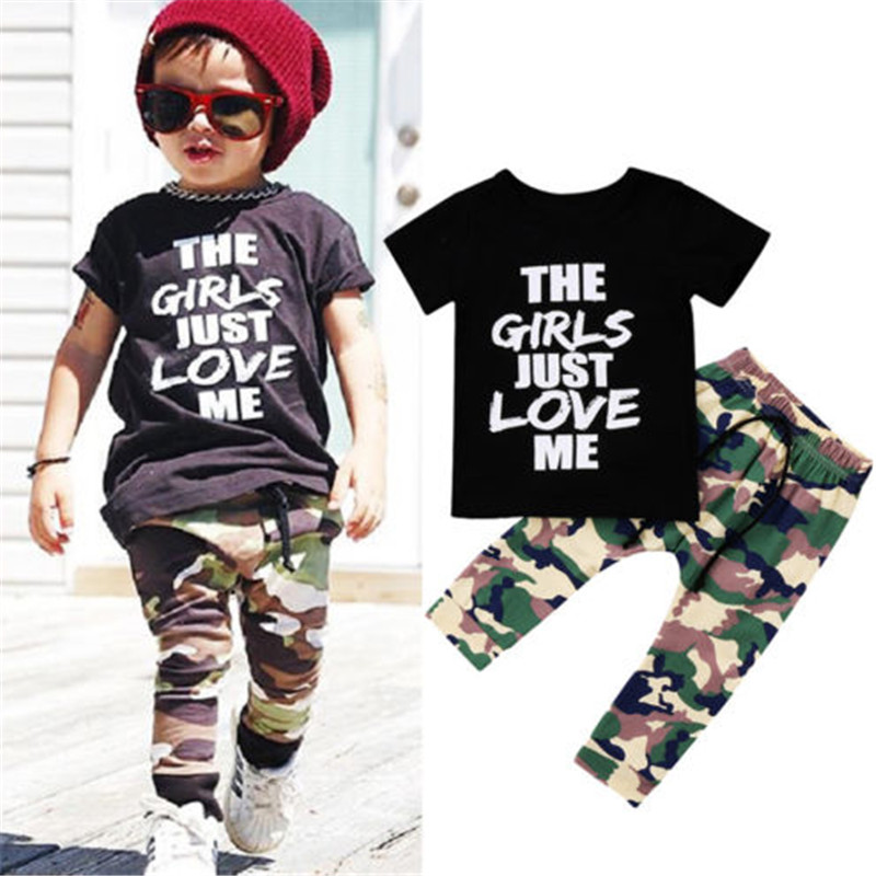 Toddler Kids Baby Boys Tops T-shirt Camo Pants Leggings Outfit Clothes Tracksuit