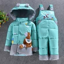 Девочка одежды детская зимняя утка пуховик комплект одежды мальчиков куртка пиджак младенческой потепление одежда