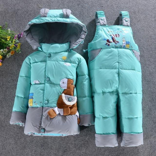 2049010f9de0 baby girl clothes children's winter duck down coat set baby outdoor clothing  baby boys jacket suit