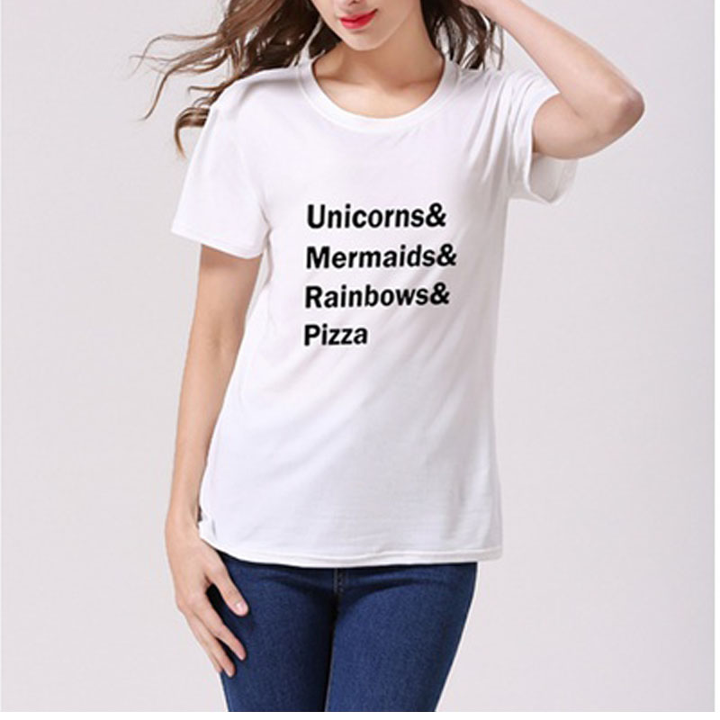 Womens Fashion T Shirt Unicorns Mermaids Rainbows Pizza Letters Print Summer Black White Gray Top