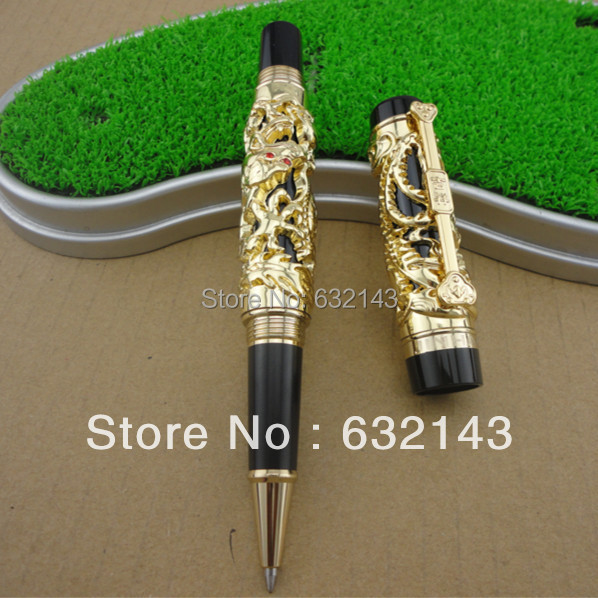 Luxury jinhao roller ball pen hollow steel golden dragon and phoenix married couple gift luxury roller ball pen  jinhao chinese