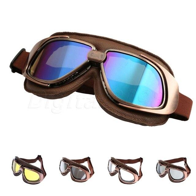 fc2751f3f6 Yetaha Motorcycle Goggles Vintage Pilot Retro Aviator Cruiser For Harley  ATV Dirt Bike Motocross Glasses Goggles